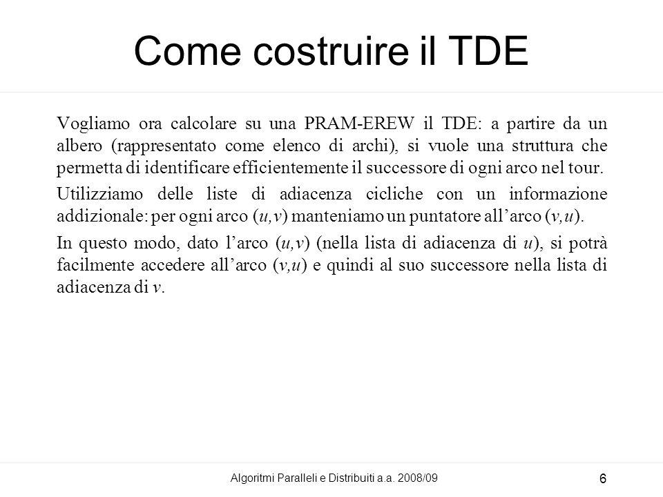 Algoritmi Paralleli e Distribuiti a.a. 2008/09 6 Come costruire il TDE Vogliamo ora calcolare su una PRAM-EREW il TDE: a partire da un albero (rappres
