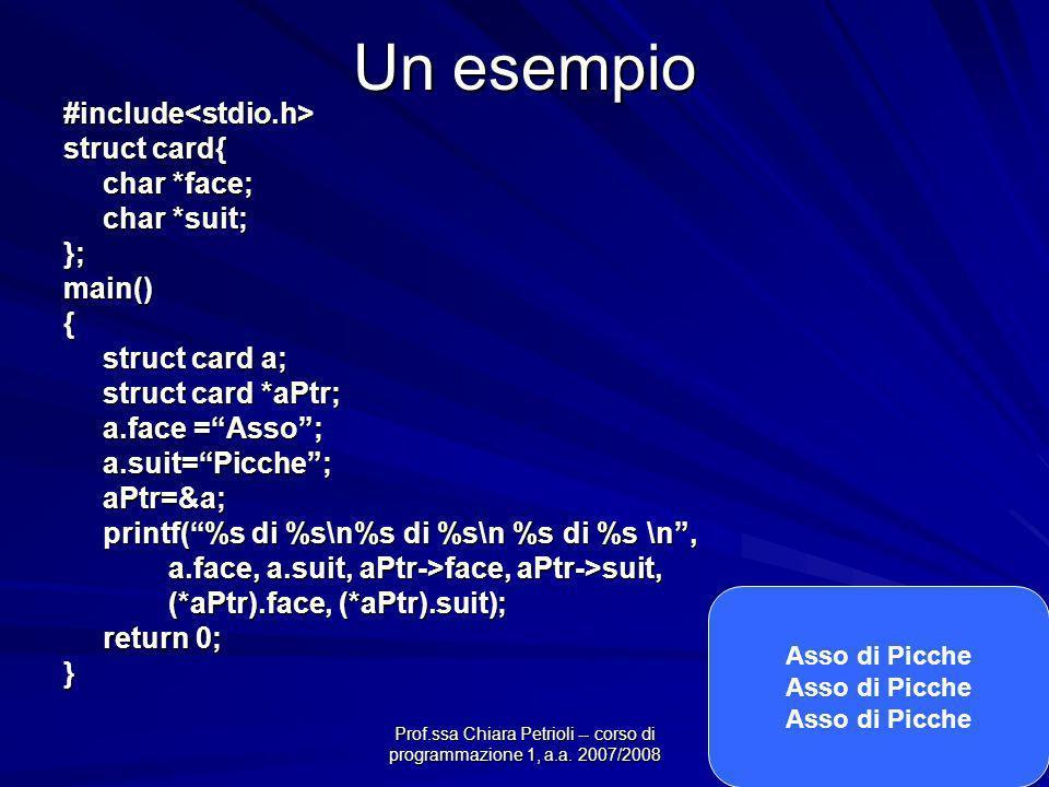Prof.ssa Chiara Petrioli -- corso di programmazione 1, a.a. 2007/2008 Un esempio #include<stdio.h> struct card{ char *face; char *suit; };main(){ stru