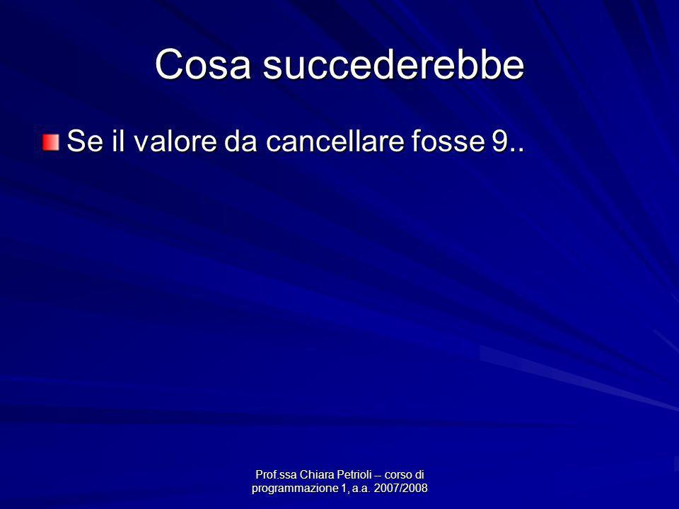 Prof.ssa Chiara Petrioli -- corso di programmazione 1, a.a. 2007/2008 Cosa succederebbe Se il valore da cancellare fosse 9..