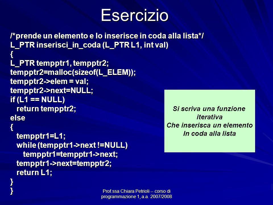 Prof.ssa Chiara Petrioli -- corso di programmazione 1, a.a. 2007/2008Esercizio /*prende un elemento e lo inserisce in coda alla lista*/ L_PTR inserisc