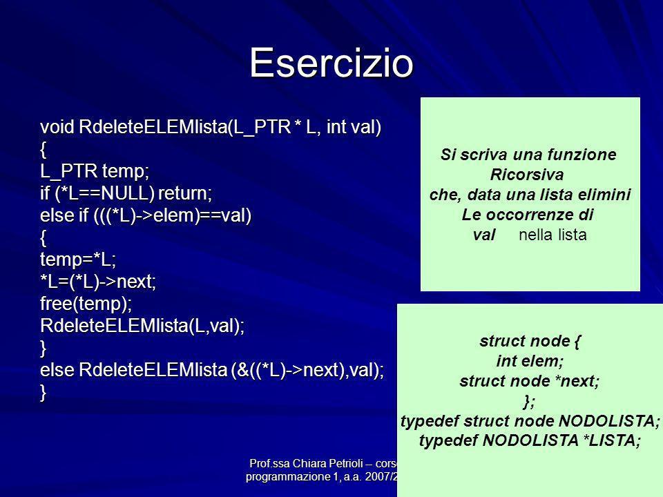 Prof.ssa Chiara Petrioli -- corso di programmazione 1, a.a. 2007/2008 Esercizio void RdeleteELEMlista(L_PTR * L, int val) { L_PTR temp; if (*L==NULL)