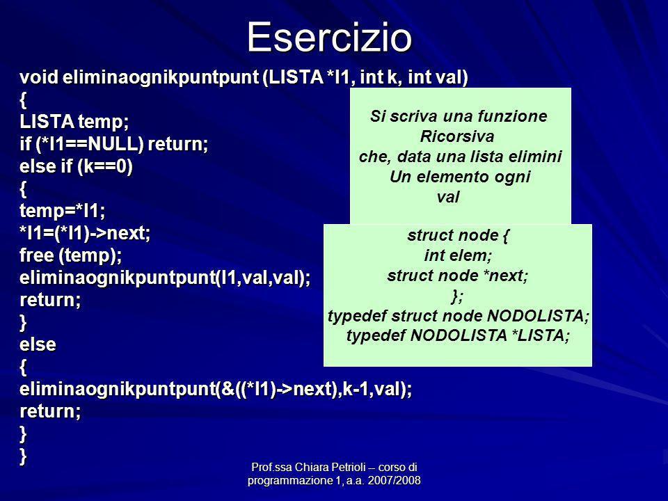 Prof.ssa Chiara Petrioli -- corso di programmazione 1, a.a. 2007/2008Esercizio void eliminaognikpuntpunt (LISTA *l1, int k, int val) { LISTA temp; if