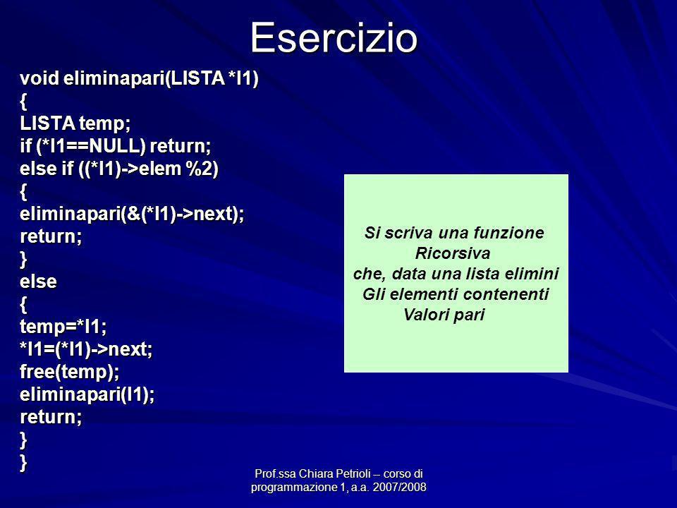 Prof.ssa Chiara Petrioli -- corso di programmazione 1, a.a. 2007/2008Esercizio void eliminapari(LISTA *l1) { LISTA temp; if (*l1==NULL) return; else i
