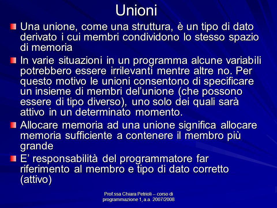 Prof.ssa Chiara Petrioli -- corso di programmazione 1, a.a. 2007/2008Unioni Una unione, come una struttura, è un tipo di dato derivato i cui membri co