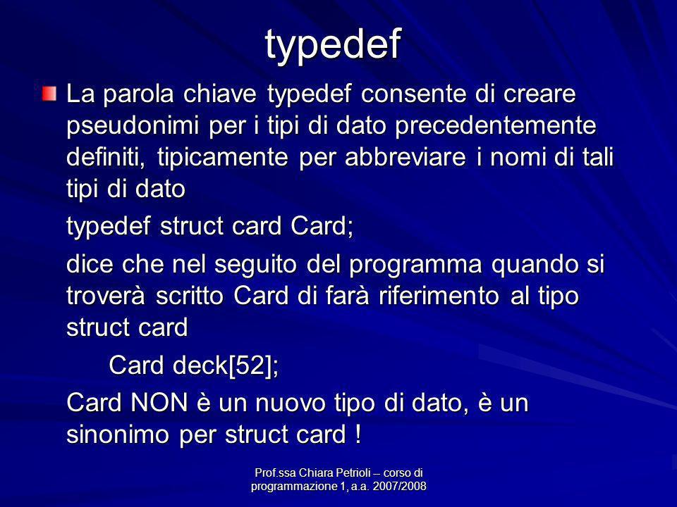 Prof.ssa Chiara Petrioli -- corso di programmazione 1, a.a. 2007/2008typedef La parola chiave typedef consente di creare pseudonimi per i tipi di dato