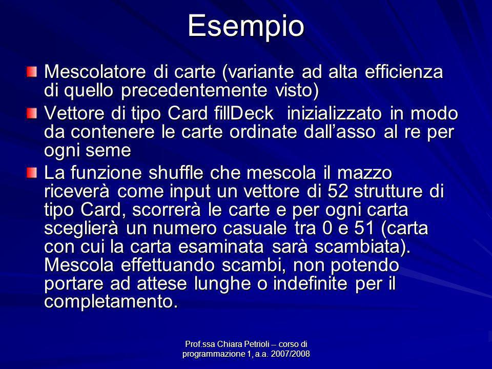 Prof.ssa Chiara Petrioli -- corso di programmazione 1, a.a. 2007/2008Esempio Mescolatore di carte (variante ad alta efficienza di quello precedentemen