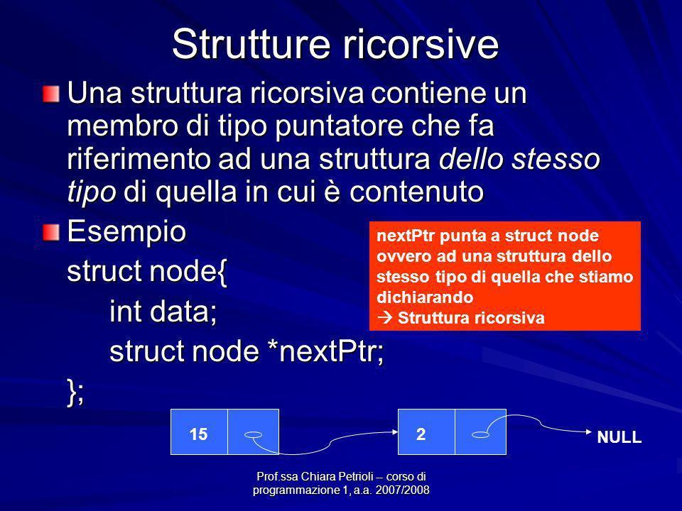 Prof.ssa Chiara Petrioli -- corso di programmazione 1, a.a. 2007/2008 Strutture ricorsive Una struttura ricorsiva contiene un membro di tipo puntatore