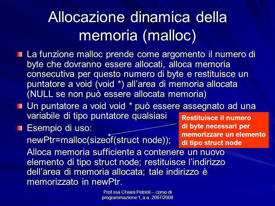 Prof.ssa Chiara Petrioli -- corso di programmazione 1, a.a. 2007/2008 Allocazione dinamica della memoria (malloc) La funzione malloc prende come argom