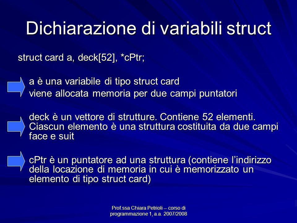Prof.ssa Chiara Petrioli -- corso di programmazione 1, a.a. 2007/2008 Dichiarazione di variabili struct struct card a, deck[52], *cPtr; a è una variab