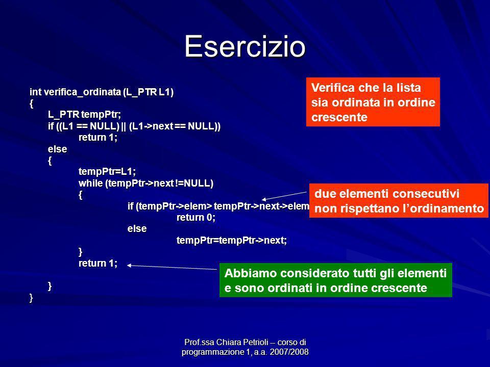 Prof.ssa Chiara Petrioli -- corso di programmazione 1, a.a. 2007/2008 Esercizio int verifica_ordinata (L_PTR L1) { L_PTR tempPtr; if ((L1 == NULL) ||
