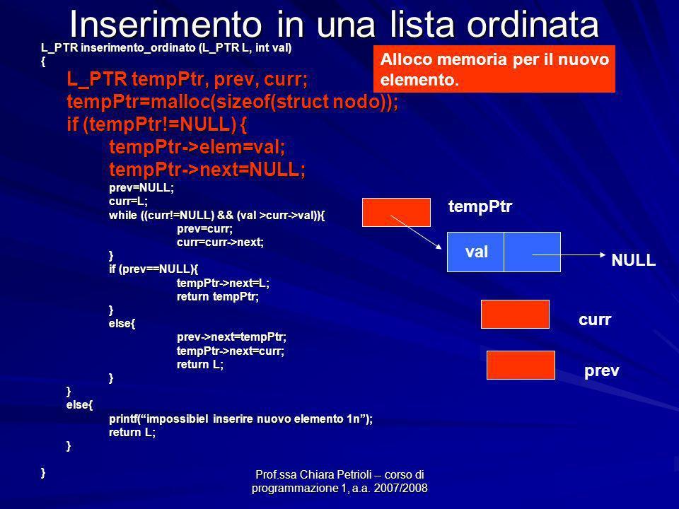 Prof.ssa Chiara Petrioli -- corso di programmazione 1, a.a. 2007/2008 Inserimento in una lista ordinata L_PTR inserimento_ordinato (L_PTR L, int val)