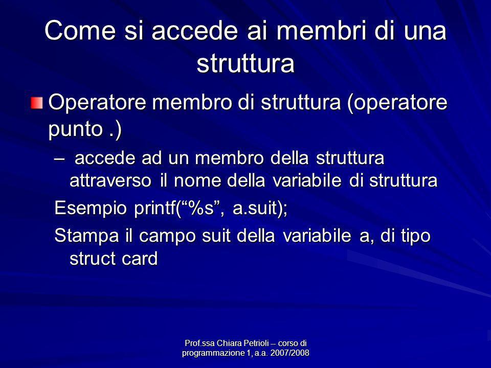 Prof.ssa Chiara Petrioli -- corso di programmazione 1, a.a. 2007/2008 Come si accede ai membri di una struttura Operatore membro di struttura (operato
