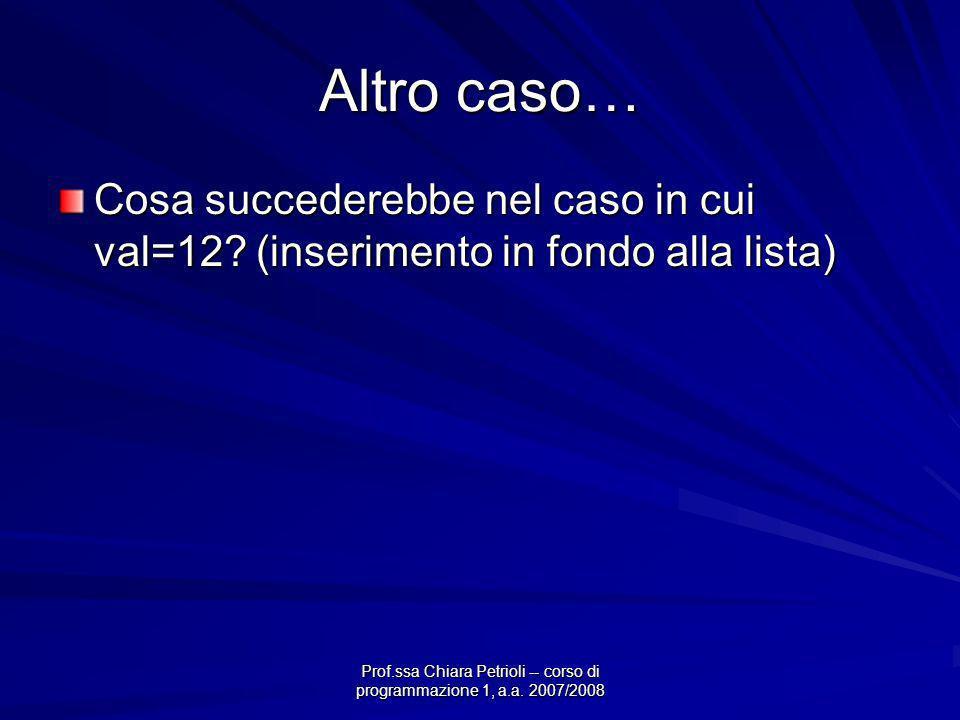 Prof.ssa Chiara Petrioli -- corso di programmazione 1, a.a. 2007/2008 Altro caso… Cosa succederebbe nel caso in cui val=12? (inserimento in fondo alla