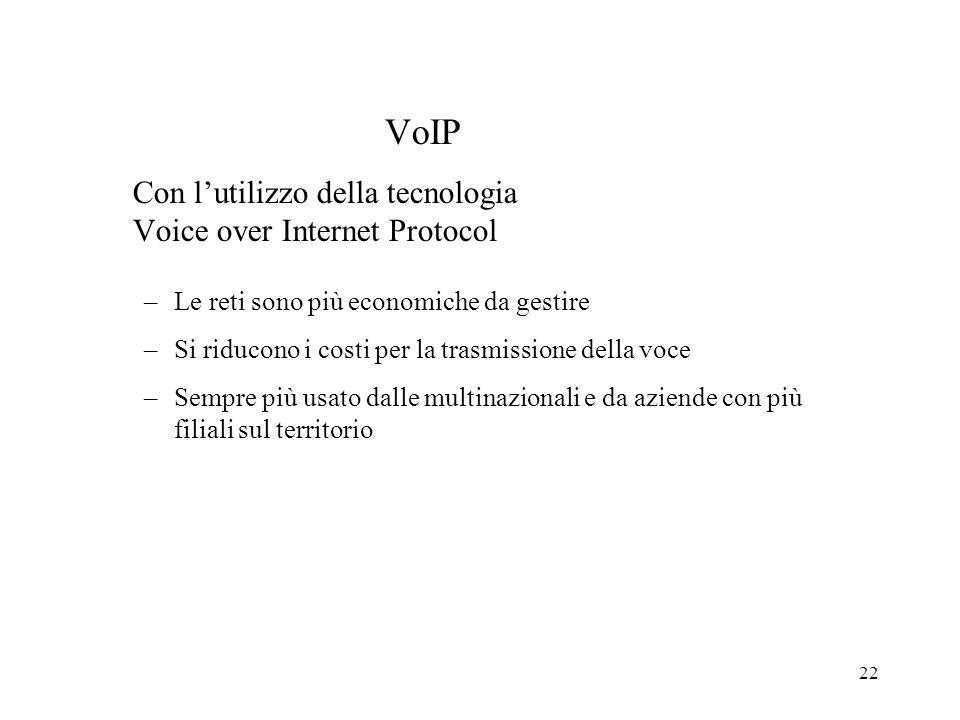22 VoIP Con lutilizzo della tecnologia Voice over Internet Protocol –Le reti sono più economiche da gestire –Si riducono i costi per la trasmissione d