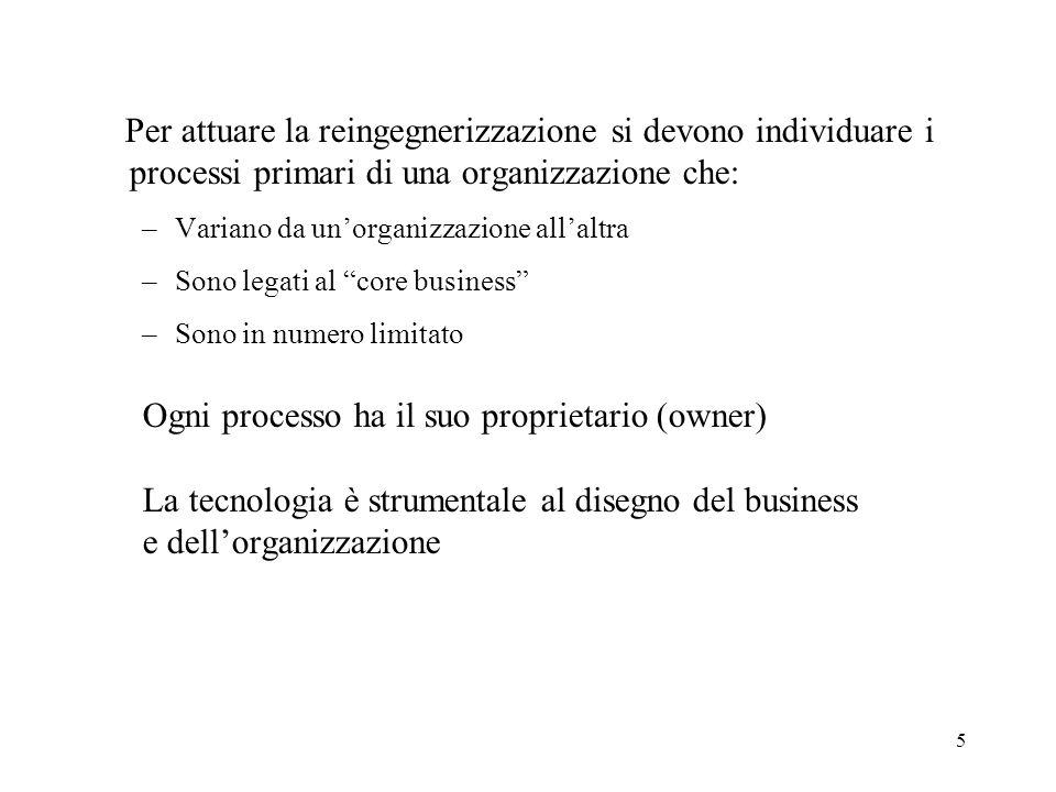 5 Per attuare la reingegnerizzazione si devono individuare i processi primari di una organizzazione che: –Variano da unorganizzazione allaltra –Sono l
