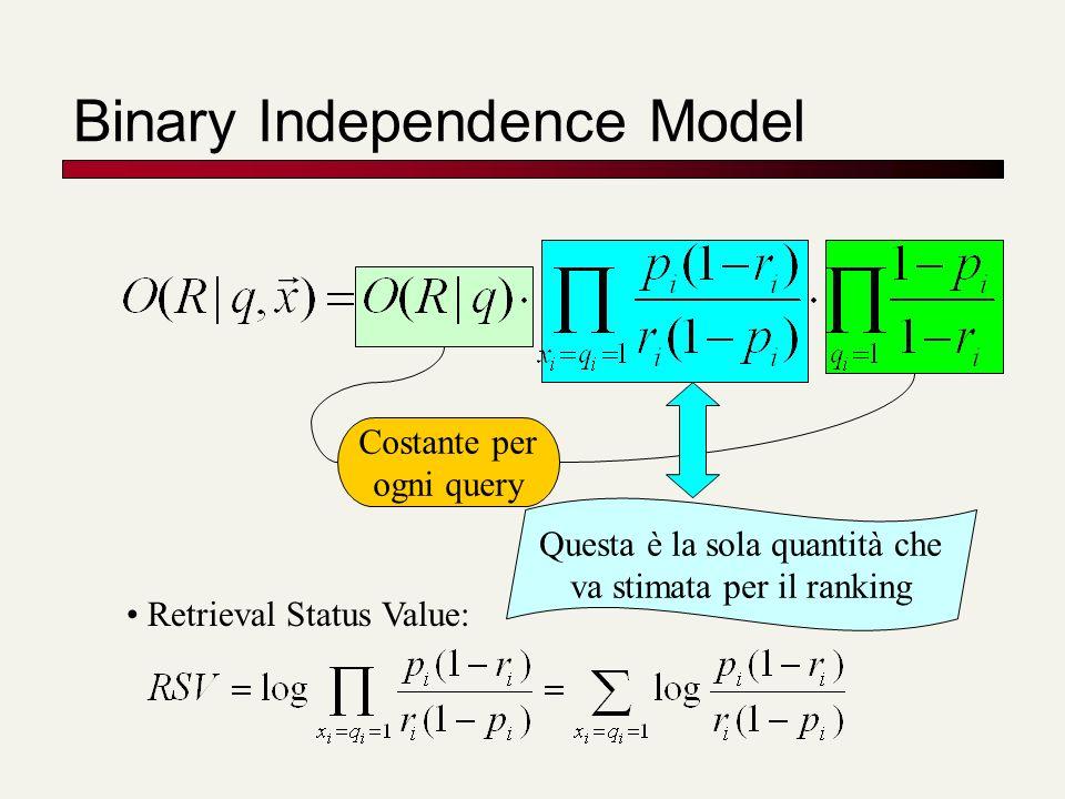 Binary Independence Model Costante per ogni query Questa è la sola quantità che va stimata per il ranking Retrieval Status Value: