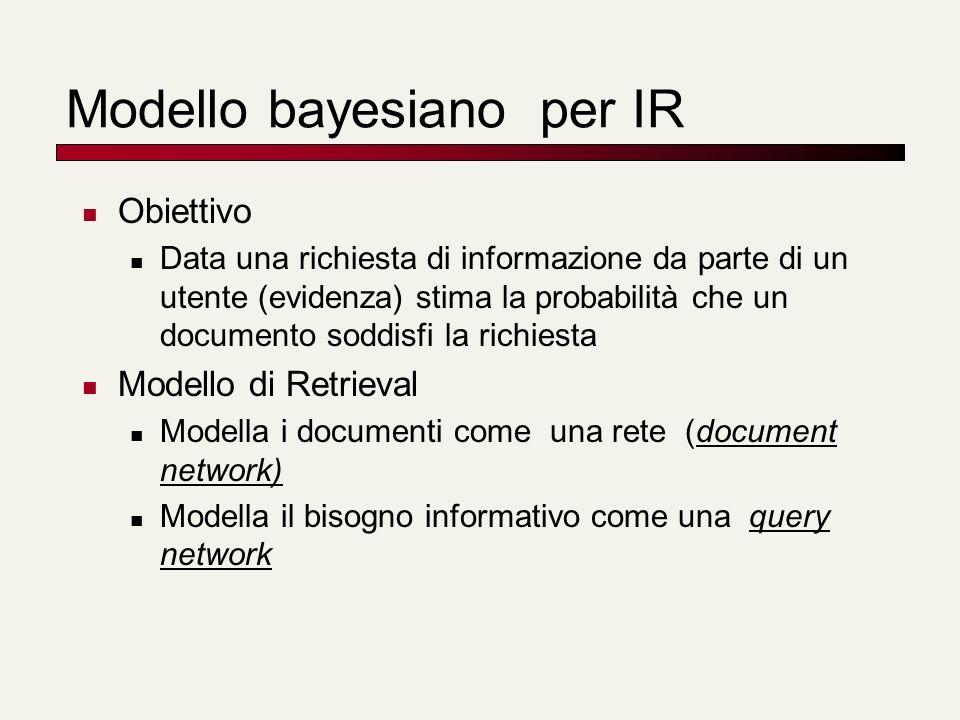 Modello bayesiano per IR Obiettivo Data una richiesta di informazione da parte di un utente (evidenza) stima la probabilità che un documento soddisfi