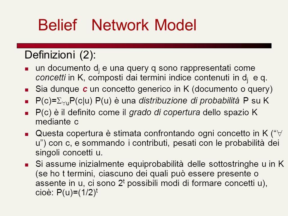 Belief Network Model Definizioni (2): un documento d j e una query q sono rappresentati come concetti in K, composti dai termini indice contenuti in d
