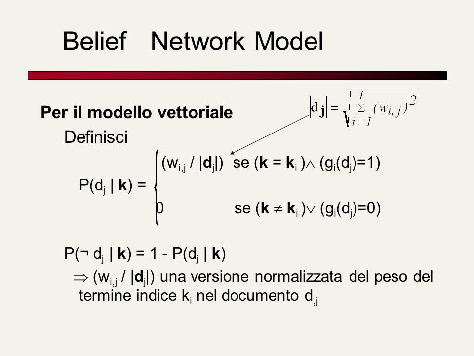 Belief Network Model Per il modello vettoriale Definisci (w i,j / |d j |) se (k = k i ) (g i (d j )=1) P(d j | k) = 0 se (k k i ) (g i (d j )=0) P(¬ d