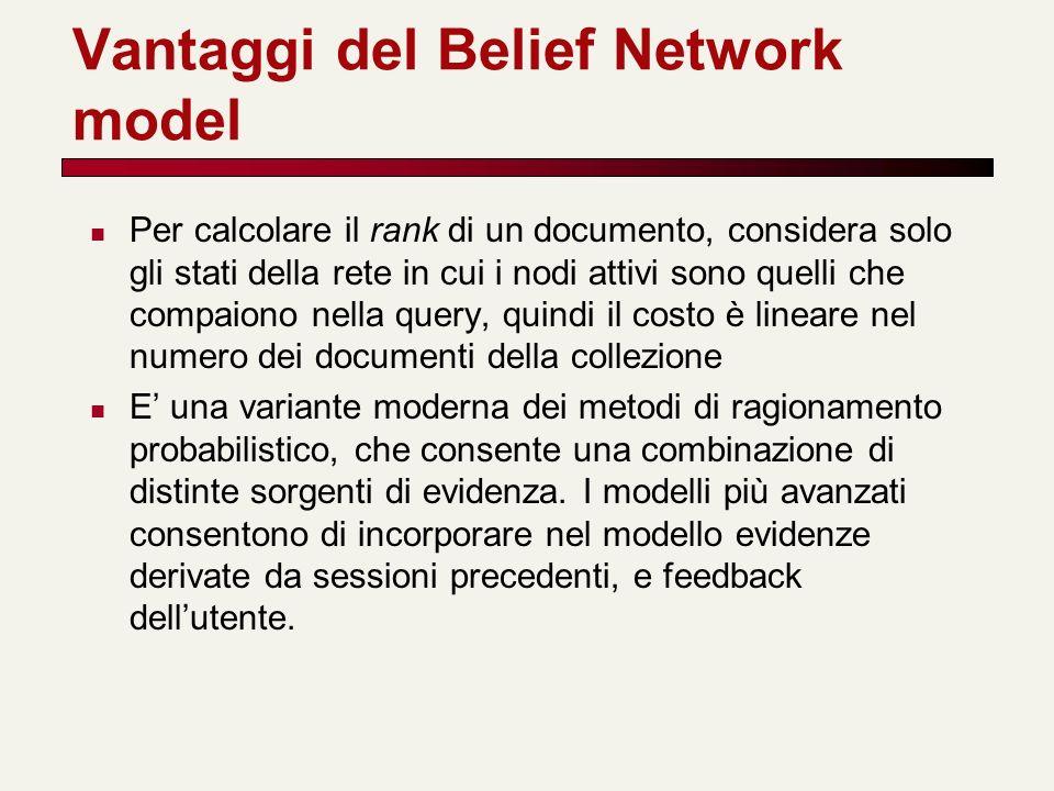 Vantaggi del Belief Network model Per calcolare il rank di un documento, considera solo gli stati della rete in cui i nodi attivi sono quelli che comp