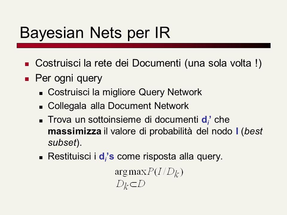 Bayesian Nets per IR Costruisci la rete dei Documenti (una sola volta !) Per ogni query Costruisci la migliore Query Network Collegala alla Document N