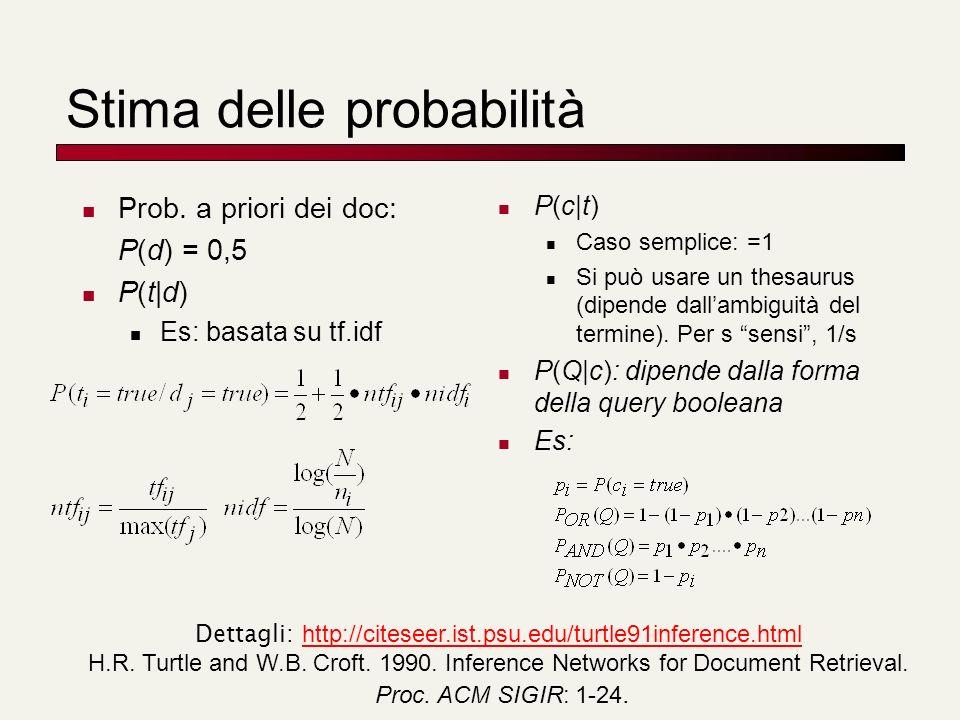 Stima delle probabilità Prob. a priori dei doc: P(d) = 0,5 P(t|d) Es: basata su tf.idf P(c|t) Caso semplice: =1 Si può usare un thesaurus (dipende dal