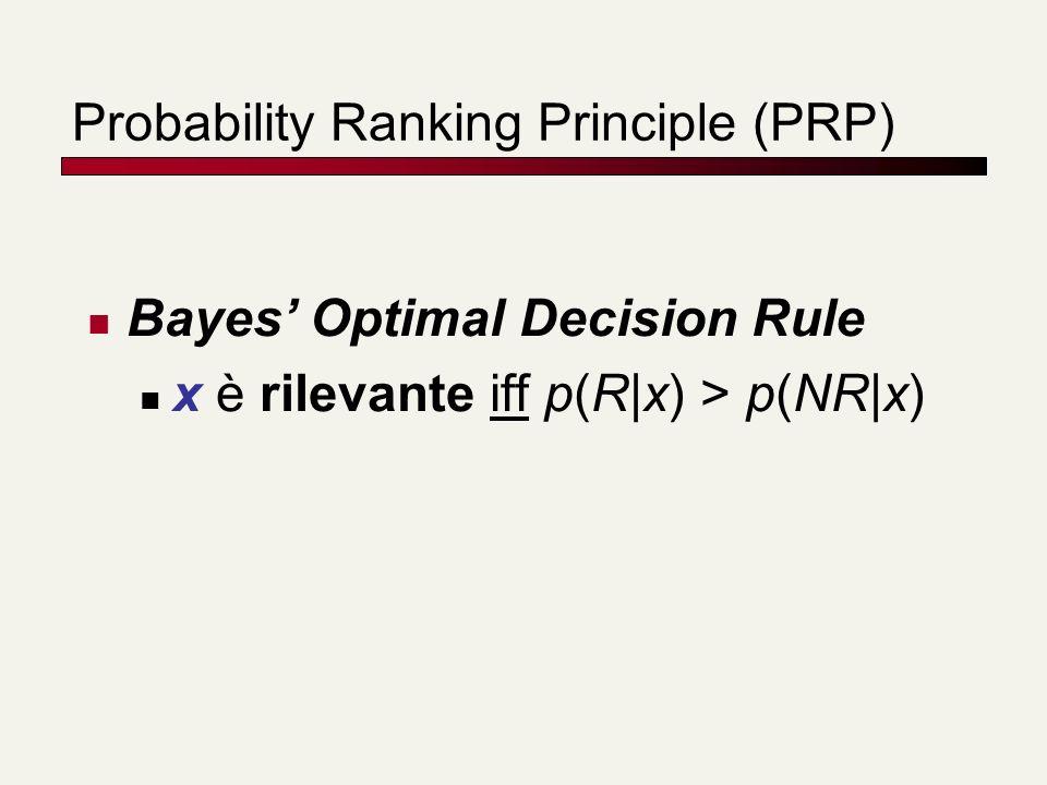 Probability Ranking Principle (PRP) Bayes Optimal Decision Rule x è rilevante iff p(R|x) > p(NR|x)