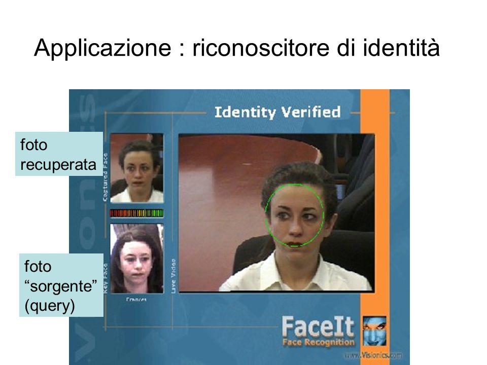 Applicazione : riconoscitore di identità foto sorgente (query) foto recuperata