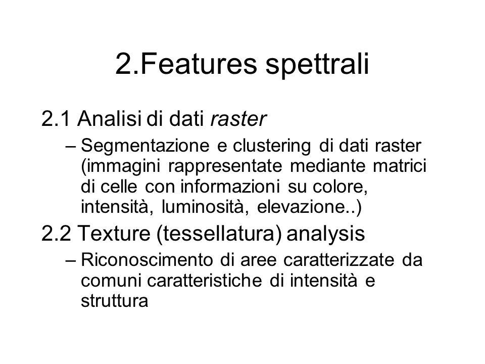 2.Features spettrali 2.1 Analisi di dati raster –Segmentazione e clustering di dati raster (immagini rappresentate mediante matrici di celle con informazioni su colore, intensità, luminosità, elevazione..) 2.2 Texture (tessellatura) analysis –Riconoscimento di aree caratterizzate da comuni caratteristiche di intensità e struttura