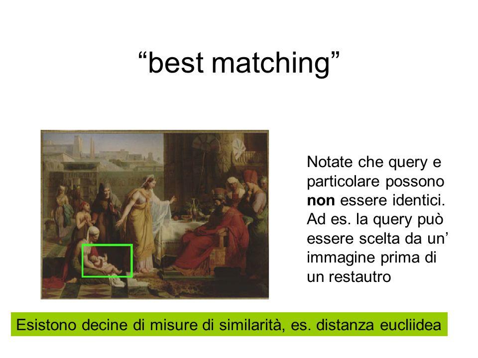 best matching Notate che query e particolare possono non essere identici.