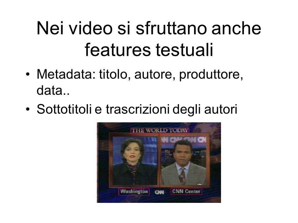 Nei video si sfruttano anche features testuali Metadata: titolo, autore, produttore, data..