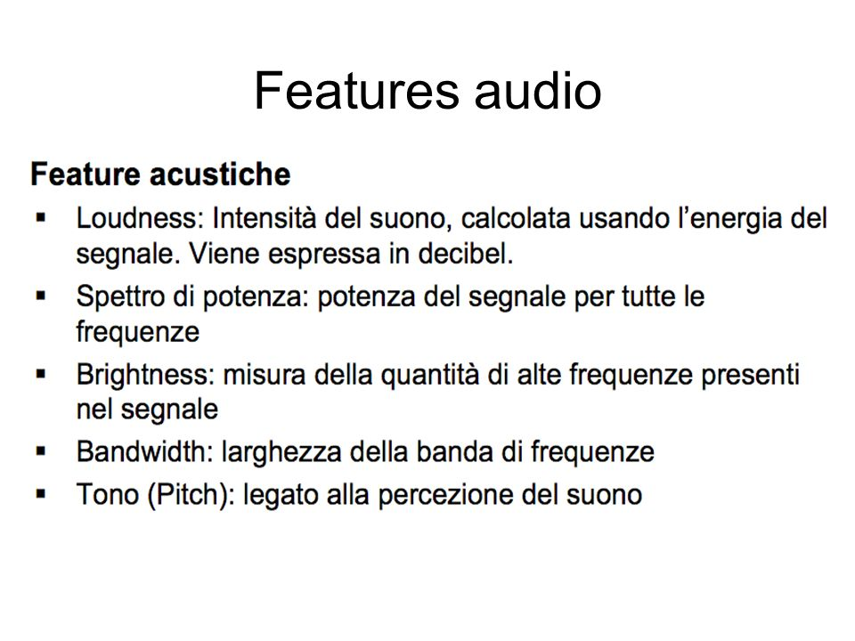 Features audio