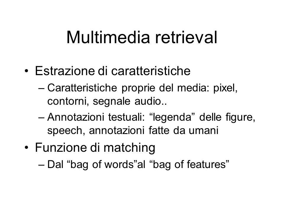 Multimedia retrieval Estrazione di caratteristiche –Caratteristiche proprie del media: pixel, contorni, segnale audio..