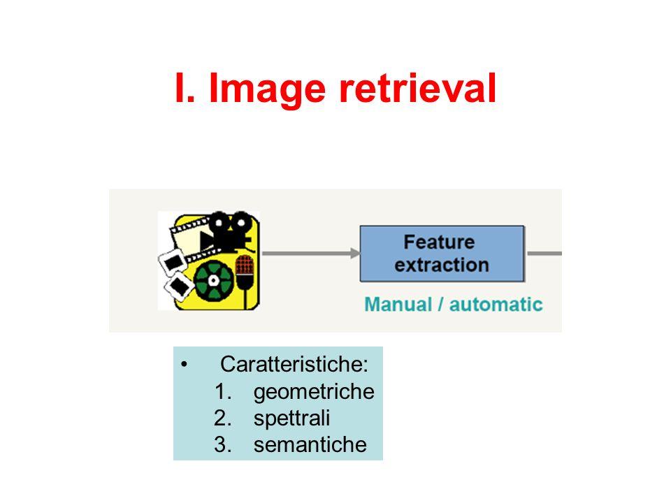 I. Image retrieval Caratteristiche: 1. geometriche 2. spettrali 3. semantiche
