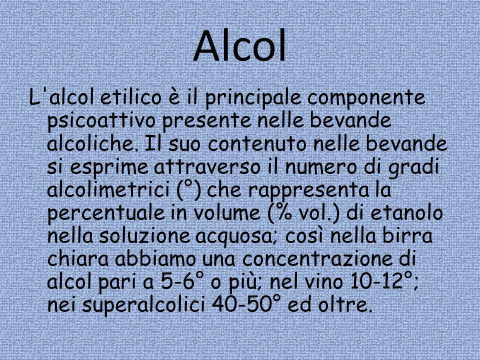 Alcol L'alcol etilico è il principale componente psicoattivo presente nelle bevande alcoliche. Il suo contenuto nelle bevande si esprime attraverso il
