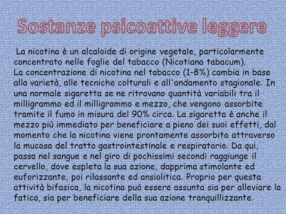 La nicotina è un alcaloide di origine vegetale, particolarmente concentrato nelle foglie del tabacco (Nicotiana tabacum). La concentrazione di nicotin
