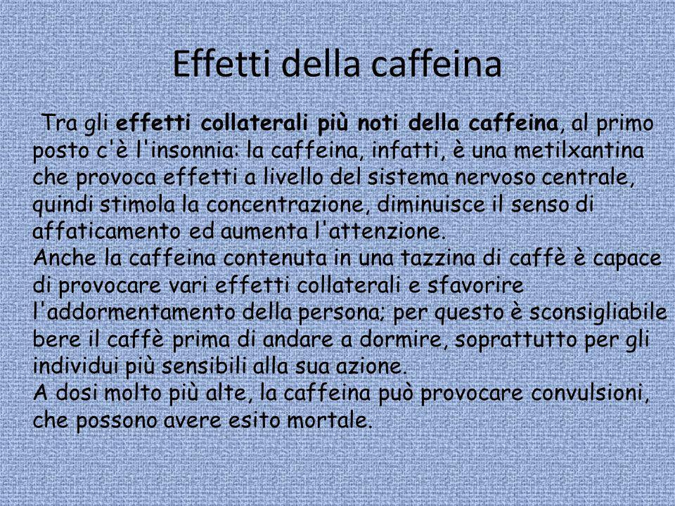 Effetti della caffeina Tra gli effetti collaterali più noti della caffeina, al primo posto c'è l'insonnia: la caffeina, infatti, è una metilxantina ch