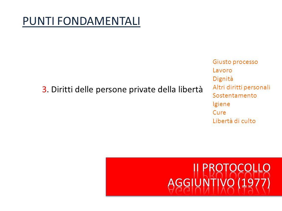 3. Diritti delle persone private della libertà PUNTI FONDAMENTALI Sostentamento Igiene Cure Libertà di culto Giusto processo Lavoro Dignità Altri diri