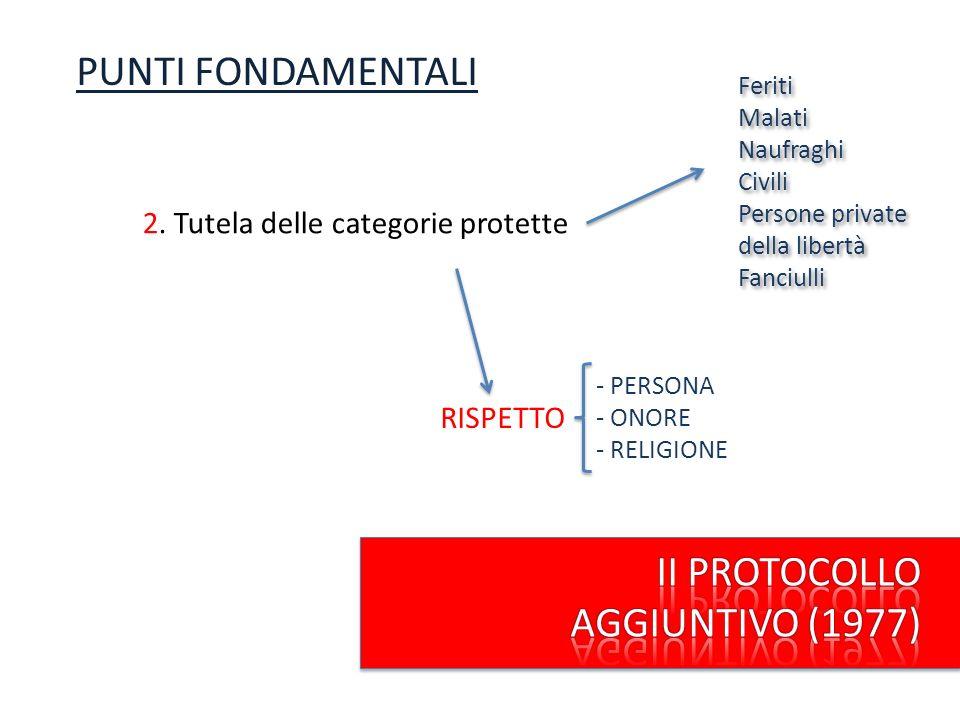 2. Tutela delle categorie protette Feriti Malati Naufraghi Civili Persone private della libertà Fanciulli PUNTI FONDAMENTALI RISPETTO - PERSONA - ONOR