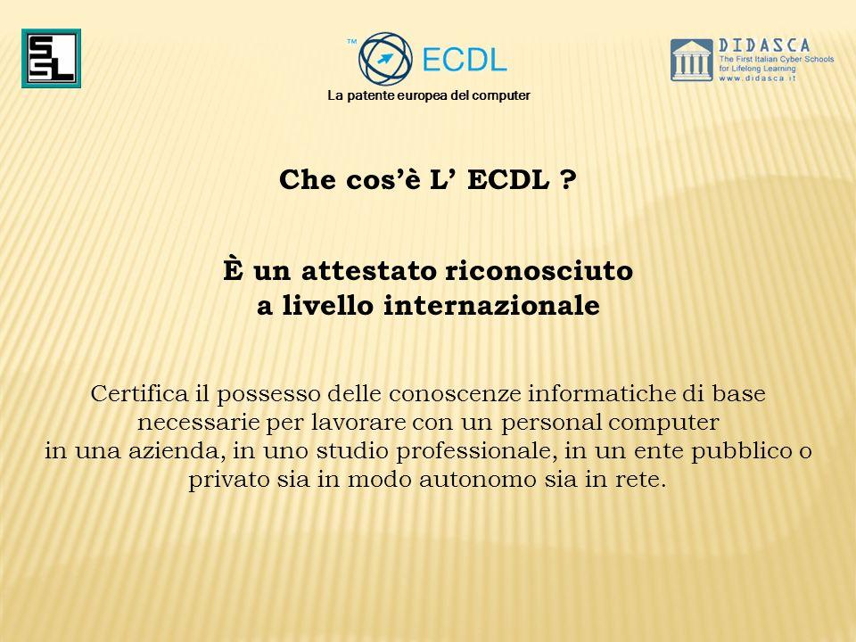 Che cosè L ECDL ? È un attestato riconosciuto a livello internazionale Certifica il possesso delle conoscenze informatiche di base necessarie per lavo
