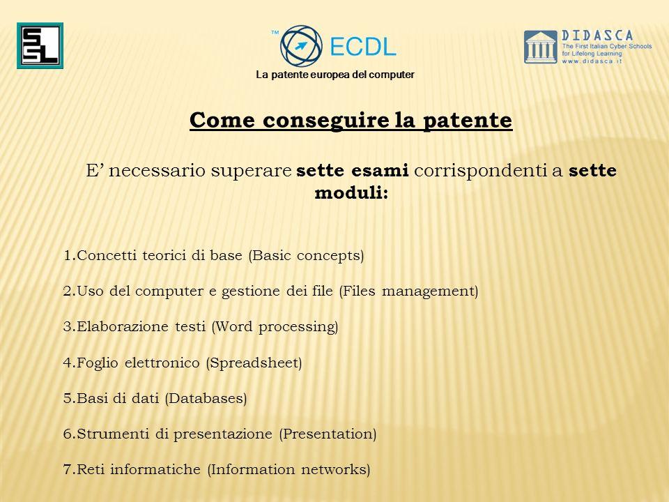 Come conseguire la patente E necessario superare sette esami corrispondenti a sette moduli: 1.Concetti teorici di base (Basic concepts) 2.Uso del comp