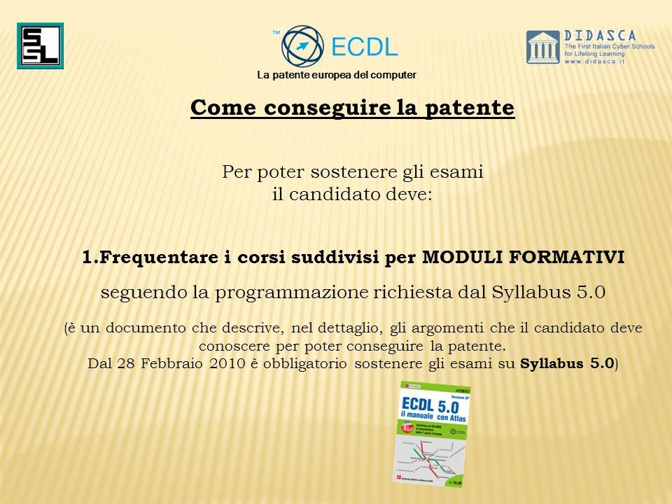 La patente europea del computer Come conseguire la patente Per poter sostenere gli esami il candidato deve: 1.Frequentare i corsi suddivisi per MODULI