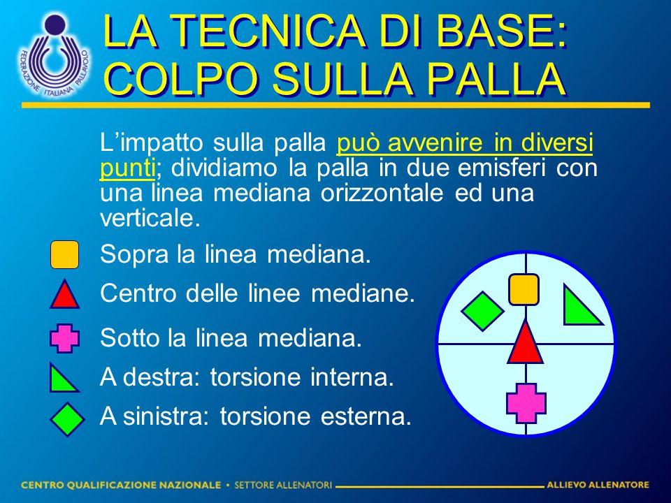 LA TECNICA DI BASE: COLPO SULLA PALLA Limpatto sulla palla può avvenire in diversi punti; dividiamo la palla in due emisferi con una linea mediana orizzontale ed una verticale.