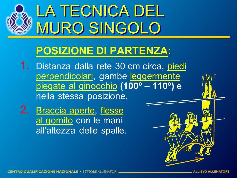 LA TECNICA DEL MURO SINGOLO POSIZIONE DI PARTENZA: Distanza dalla rete 30 cm circa, piedi perpendicolari, gambe leggermente piegate al ginocchio (100º