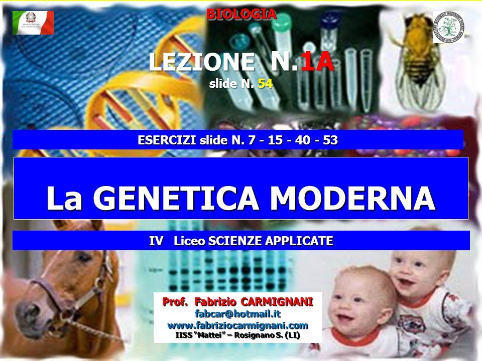 Slide N. 54 La GENETICA MODERNA BIOLOGIABIOLOGIA Prof. Fabrizio CARMIGNANI fabcar@hotmail.it www.fabriziocarmignani.com IISS Mattei – Rosignano S. (LI