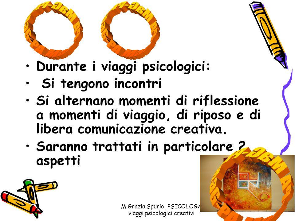 M.Grazia Spurio PSICOLOGA viaggi psicologici creativi Durante i viaggi psicologici: Si tengono incontri Si alternano momenti di riflessione a momenti