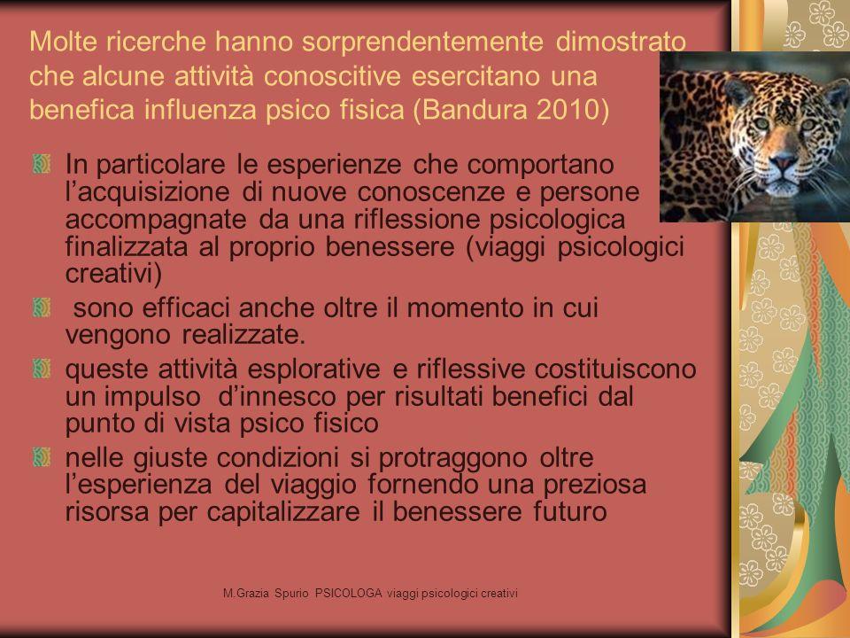 M.Grazia Spurio PSICOLOGA viaggi psicologici creativi Molte ricerche hanno sorprendentemente dimostrato che alcune attività conoscitive esercitano una