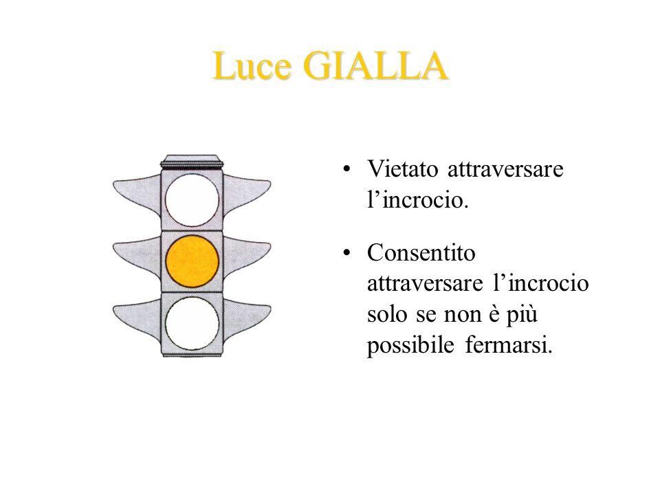 Luce GIALLA Vietato attraversare lincrocio.