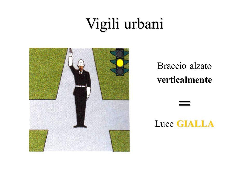Vigili urbani Braccia distese in direzione parallela a quella di marcia= VERDE Luce VERDE