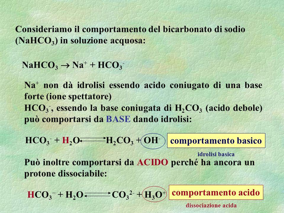 Consideriamo il comportamento del bicarbonato di sodio (NaHCO 3 ) in soluzione acquosa: NaHCO 3 Na + + HCO 3 - Na + non dà idrolisi essendo acido coniugato di una base forte (ione spettatore) HCO 3 -, essendo la base coniugata di H 2 CO 3 (acido debole) può comportarsi da BASE dando idrolisi: Può inoltre comportarsi da ACIDO perché ha ancora un protone dissociabile: HCO 3 + H 2 O CO 3 2- + H 3 O + dissociazione acida comportamento acido HCO 3 - + H 2 O H 2 CO 3 + OH - idrolisi basica comportamento basico